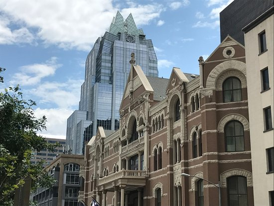 The Driskill: Historic Hotel with modern skyline in background