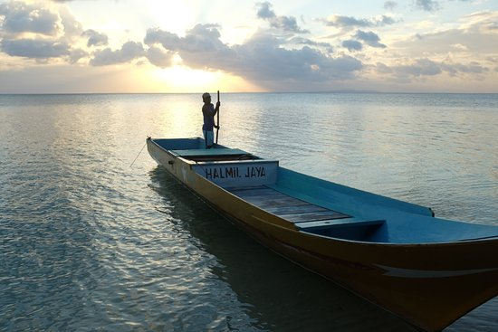 Wakatobi Hoga Diving: Le bateau qui nous a depose a Hoga Island. Organise par l'hotel.