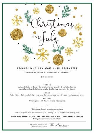 Terra Rossa Restaurant & Bar: Christmas in July menu 2017
