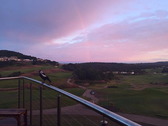 The Links Shell Cove Golf Course: Sunset and rainbow view from our balcony