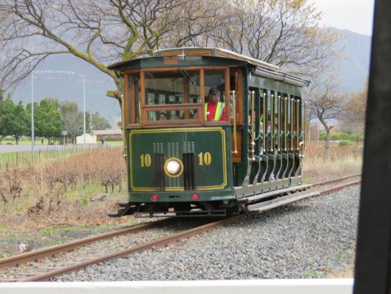 Franschhoek Wine Tram: The tram arriving at one of the stops.