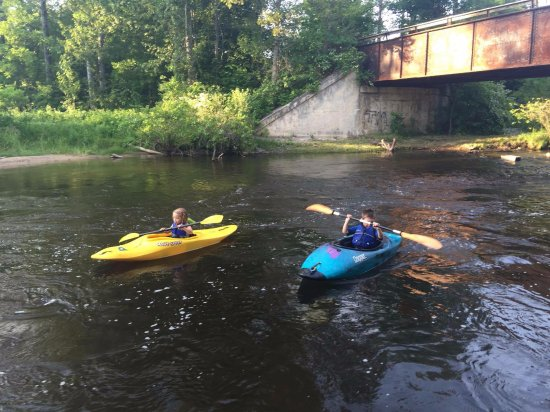 Wolverine, MI: Little paddlers on the Sturgeon...carefully supervised....