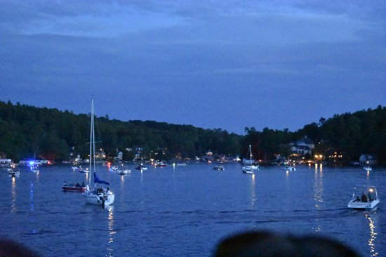 Sunapee Harbor at dusk from the boat