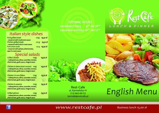 Rest-Cafe: English menu