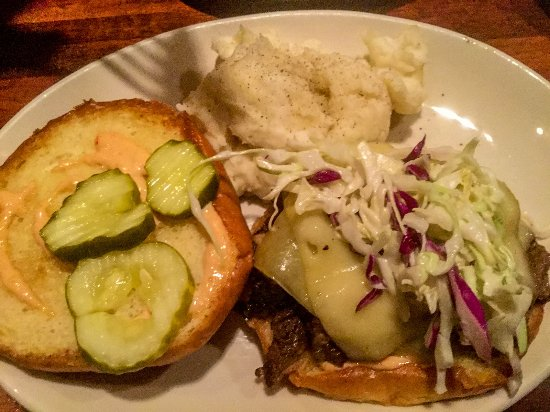 Wood Ranch BBQ & Grill: Ethan's Brisket Sandwich with Mashed Potatoes - Irvine Spectrum Wood Ranch BBQ And Grill - Picture Of Wood Ranch