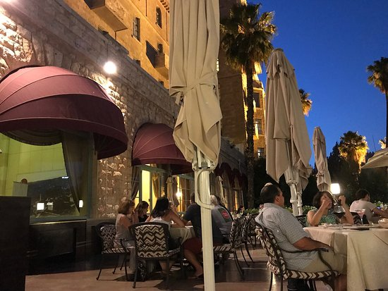 The King David: Arriving to a perfect june evening we dined on the terrace overlooking the Light Festival down b