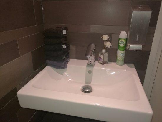 Wasbak bij toilet met schone handdoekjes picture of de sultan