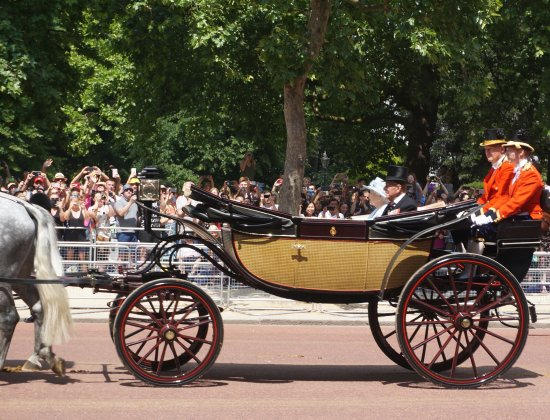 Trooping the Colour : The Queen and the Duke of Edinburgh on their way back to Buckingham Palace