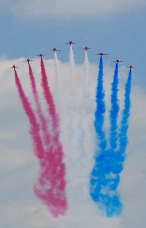 Trooping the Colour : The Red Arrows on their flypast!