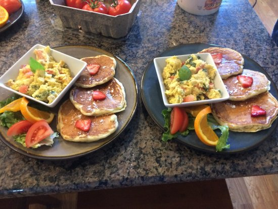 Skaneateles, NY: Buttermilk Pan Cakes with a Mediterranean Scramble