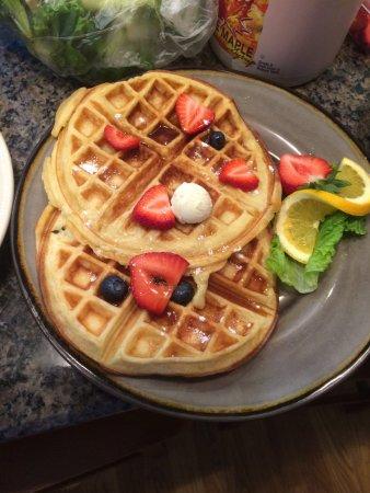 Skaneateles, NY: Homemade Buttermilk Waffles with frozen vanilla cream & fruit