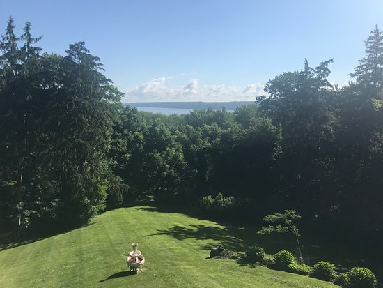 Renwick Clifton House: View from breakfast on the spacious back porch overlooking the yard and Hudson River