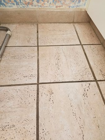 1800 Atlantic Suites: Black and dirty grout. Walk barefoot at your own risk.