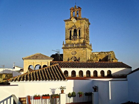 Casa Campana: View from just outside our room of the terrace and church