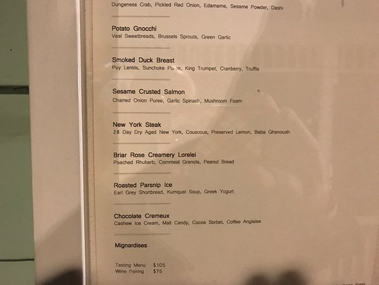 Painted Lady: Menu