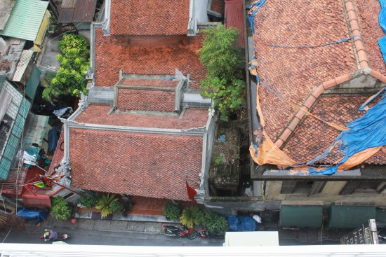 View onto Old Quarter roofs from room 405