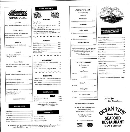 Ocean View Restaurant Menu Lexington Nc