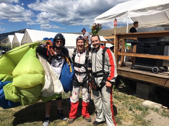 Okanagan Skydive: Cole (left), myself, and a friend post jump. Adrenaline still rushing!