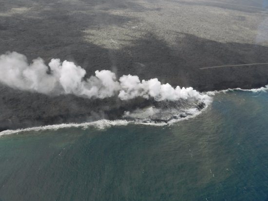Waimea, HI: steam from lava flowing into ocean