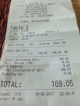 Cheapest Wine On Menu Picture Of No Black Tie Kuala Lumpur