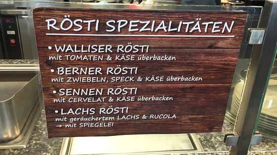 Bettmeralp, Switzerland: Und Rösti Spezialitäten