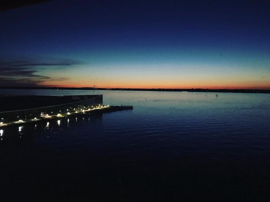 Sheraton Erie Bayfront Hotel: The view from our room overlooking the bay and the Erie Convention Center at sunset!
