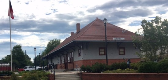 This is a view of Cornelia's Historic Train Depot from the main street entrance.