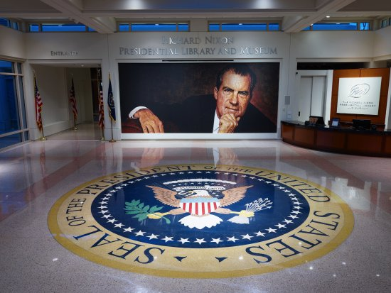 Yorba Linda, CA: Entrance to the Richard Nixon Presidential Library and Museum