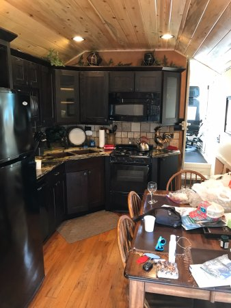Essex, MT: Kitchen/dining and engineers seat (forward to right!)