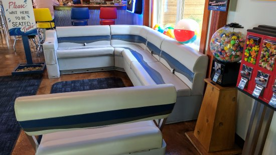 The waiting area uses pontoon seats  - Picture of Props Landing