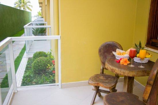 Varanda - Apto térreo - Strand Hotel Guarujá - frente ao Mar
