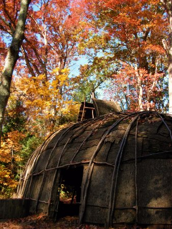 Washington, CT: Replicated Algonkian longhouse in the fall.