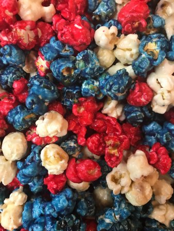 "Kilmarnock, VA: Our ""Merica Mix is a great mix of cheesecake, blueberry and raspberry popcorn."