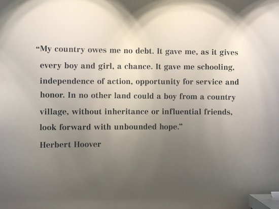West Branch, IA: A quote by Hoover about opportunity in America
