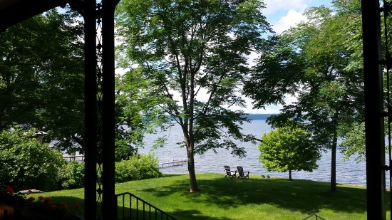 Aurora, NY: Adirondak chairs overlooking the lake. Perfect place for a glass of Chardonnay