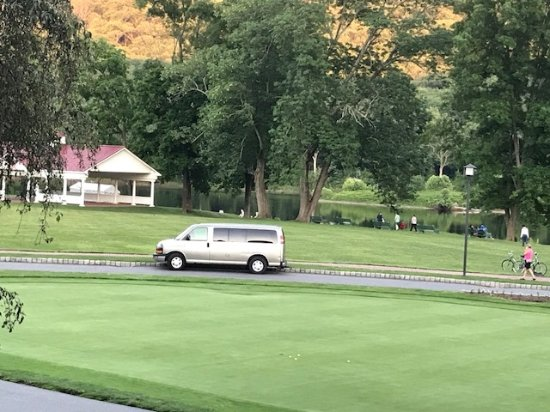 Shawnee on Delaware, PA: View of real putting green in front of hotel towards river and pavillion.