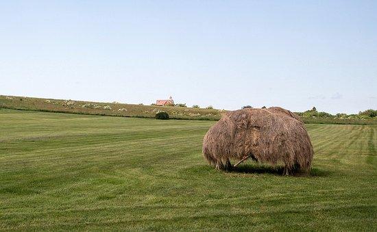 Grand Pre, Canada: Haystack on Polder with Farmhouse in Background - Grand Pré