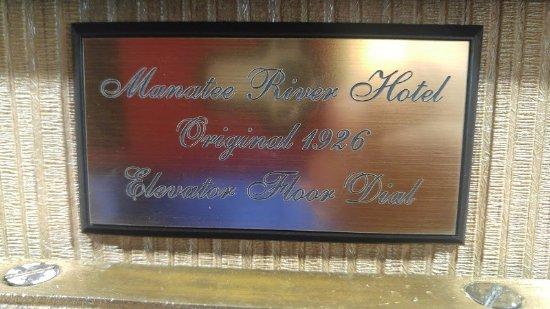 Hampton Inn & Suites Bradenton Downtown Historic District: PLAQUE reflecting OLD Elevator