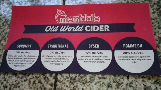 Cobble Hill, Канада: old world cider menu