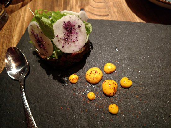 Smyth In The Iron Horse Hotel : Lamb tartare with aioli, black radish, red cabbage dust, mache, mint oil