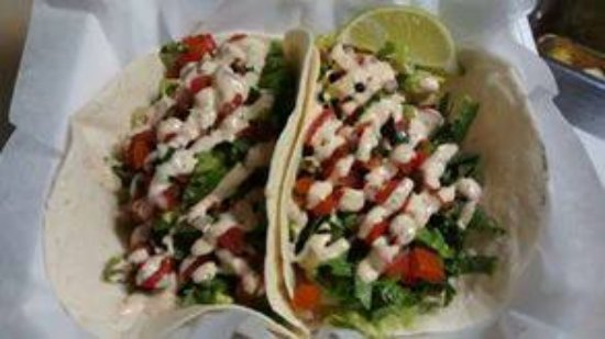 Shrubb's Street Eatery: Shrimp Tacos with Garden Fresh Pico De Gallo
