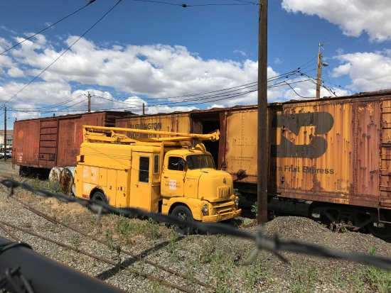 Old Yakima Repair truck and stored box cars