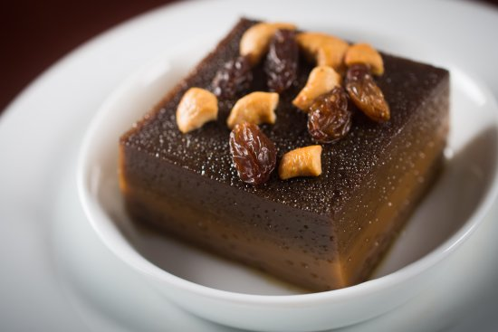Upali's: Watalappan: delectable pudding made with jaggery and coconut milk, topped with cashew nuts