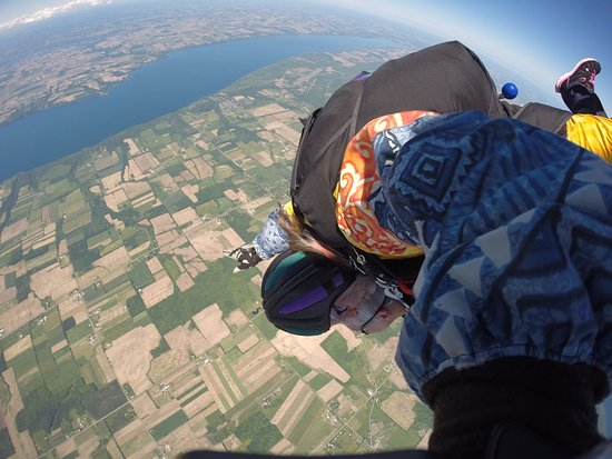 Skydive Finger Lakes: just out of the plane.10,000 feet high