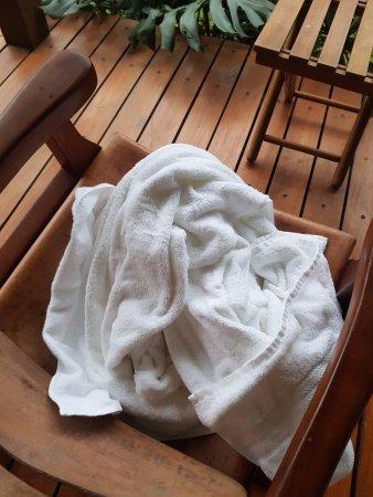 El Silencio Lodge & Spa: nos serviettes sorties de la chambre par le personnel pour les retrouver sur la terrasse ...