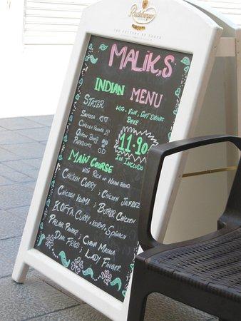 Maliks: Cartellone con uno dei menu fissi