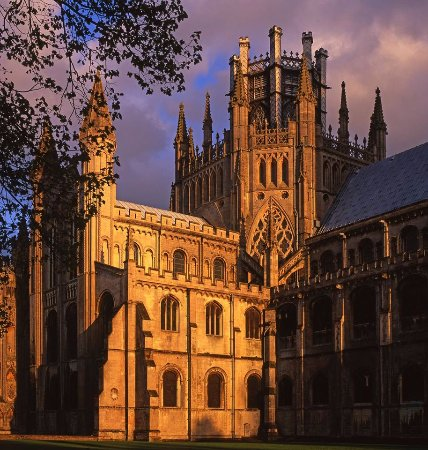 Ely, UK: The Octagon Tower bathed in sunlight.