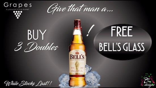 Benoni, Sudáfrica: Get that Man a 3 Double Bells and get a Free Bell's Glass to Go with it #Grapes_Pub