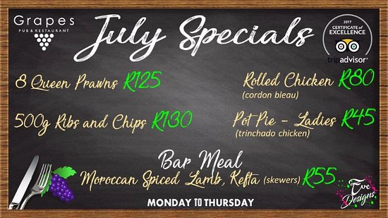 Benoni, South Africa: Nom nom nom...JULY- ING with these awesome prices!!  #grapespubrestaurant #tripadvisor TripAdvis