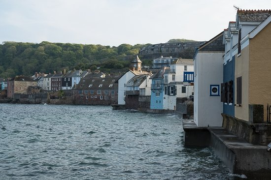 Cawsand, UK: The Old School House is just to the left of the Clock Tower in this photo